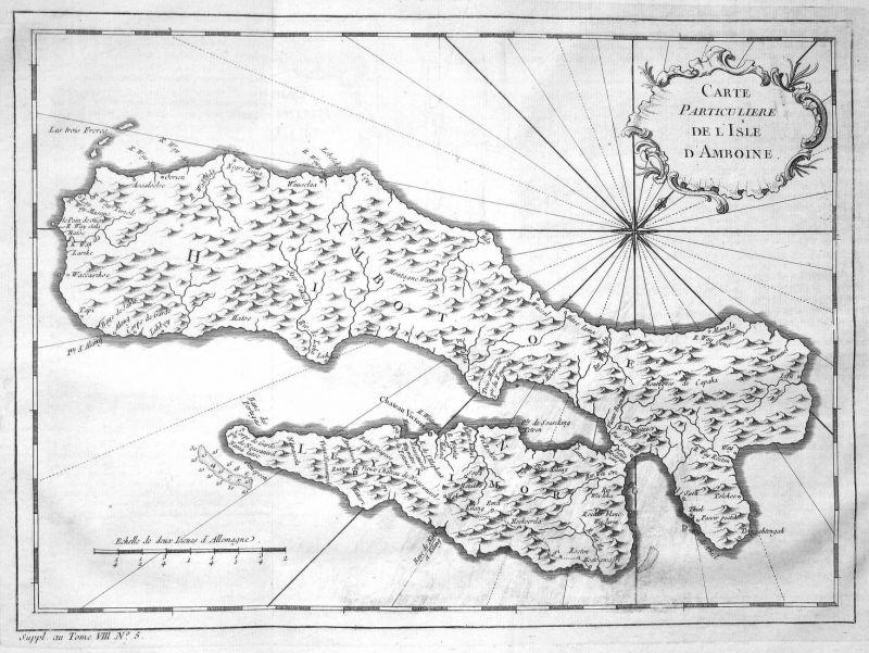 Carte particuliere de l'Isle d'Amboine - Ambon Molukken Maluku Indonesien Indonesia Karte map Kupferstich anti