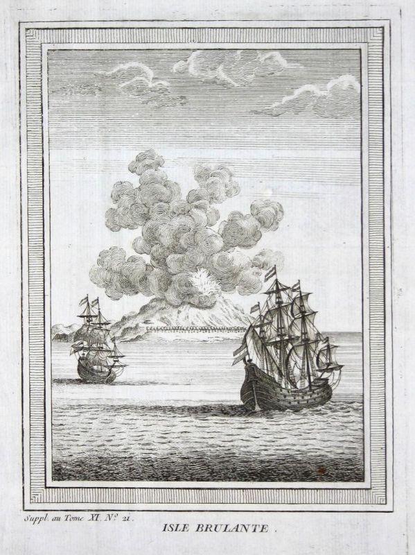 Isle brulante - burning Island Brennende Insel Indian Ocean ships Schiffe Ansicht view Kupferstich antique pri