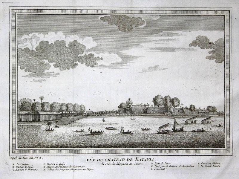 Vue du Chateau de Batavia - Batavia Jakarta Indonesia Indonesien Hafen port Ansicht view Kupferstich antique p