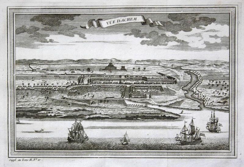 Vue d'Achem - Banda Aceh Indonesia Indonesien Sumatra Ansicht view Kupferstich antique print