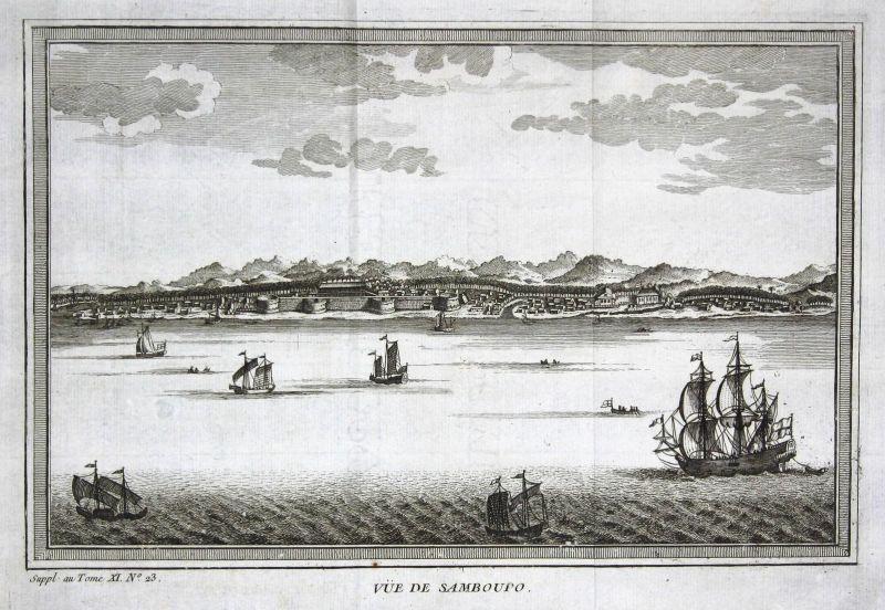 Vue de Samboupo - Samboupo Sudainseln Suda Islands Schiffe ships Ansicht view Kupferstich antique print