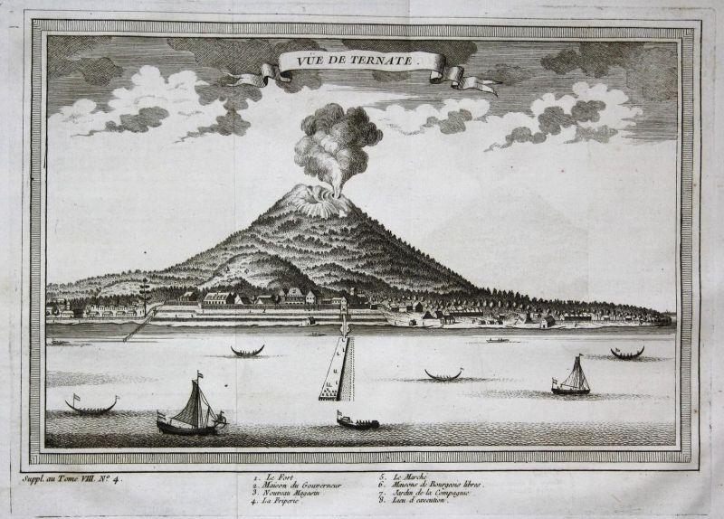 Vue de Ternate - Ternate Maluku Island Molukken Vulkan volcano  Ansicht view Kupferstich antique print