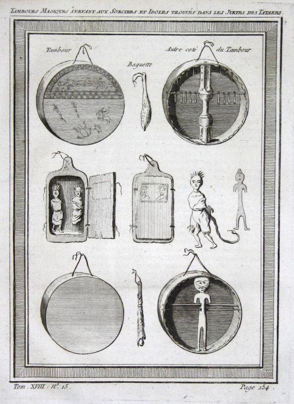 Tambours magiques servant aux sorciers et idoles trouves dans les jurtes des Tartares - Tatarei Tartary Kunst