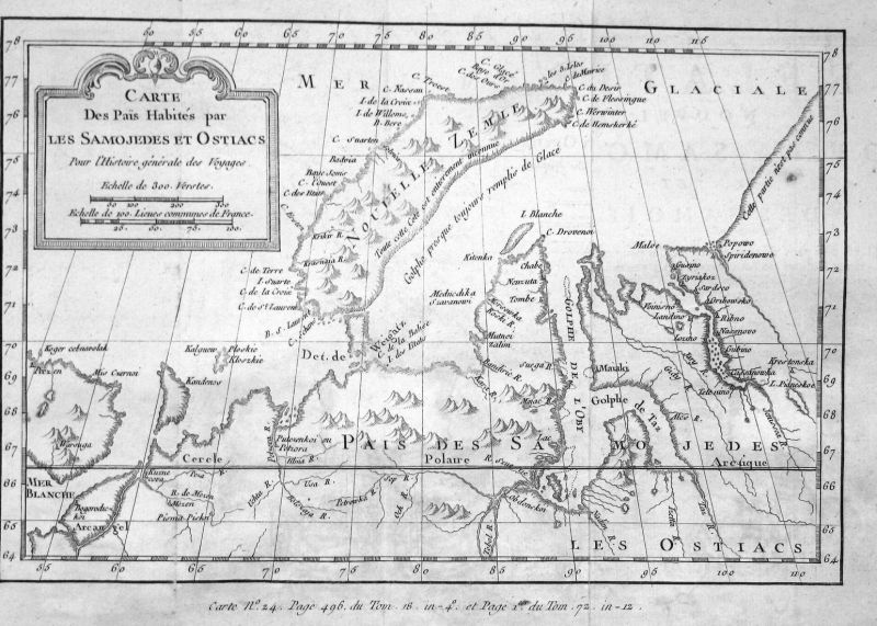 Carte des pais habites par les Samojedes et Ostiacs - Nowaja Semlja Zemlya Novaya Russia Russland map Karte Ku
