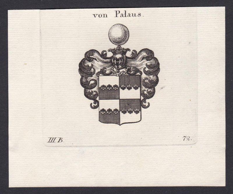 Von Palaus - Palaus Wappen Adel coat of arms heraldry Heraldik Kupferstich antique print