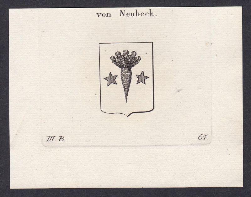 Von Neubeck - Neubeck Wappen Adel coat of arms heraldry Heraldik Kupferstich antique print