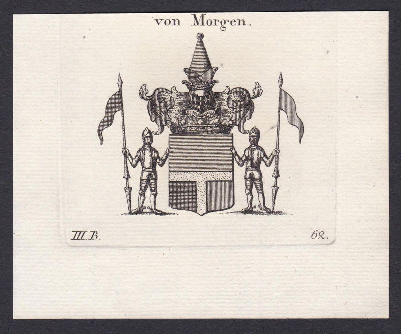 Von Morgen - Morgen Wappen Adel coat of arms heraldry Heraldik Kupferstich antique print