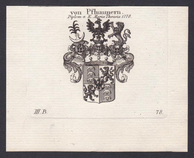 Von Pflummern. Diplom v. K. Maria Theresia 1778 - Pflummern Wappen Adel coat of arms heraldry Heraldik Kupfers