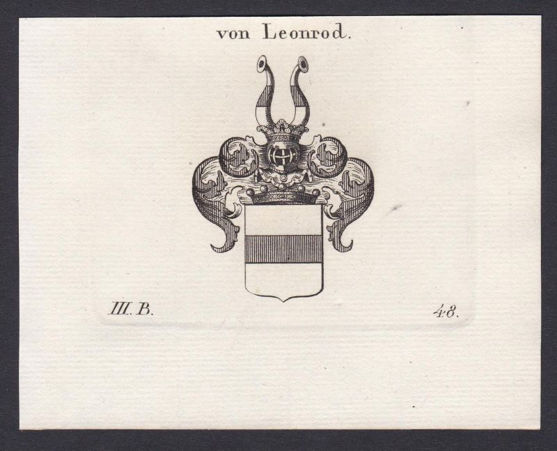 Von Leonrod - Leonrod Franken Schwaben Wappen Adel coat of arms heraldry Heraldik Kupferstich antique print