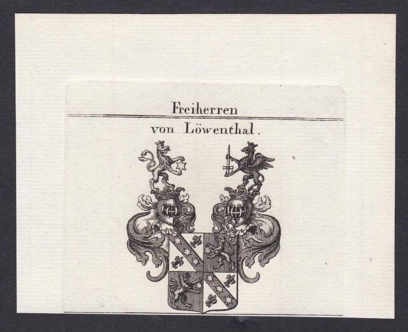 Freiherren von Löwenthal - Löwenthal Löwental Wappen Adel coat of arms heraldry Heraldik Kupferstich antique p