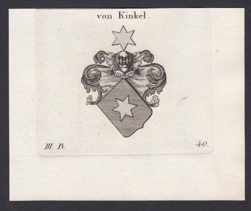 Von Kinkel - Kinkel Wappen Adel coat of arms heraldry Heraldik Kupferstich antique print