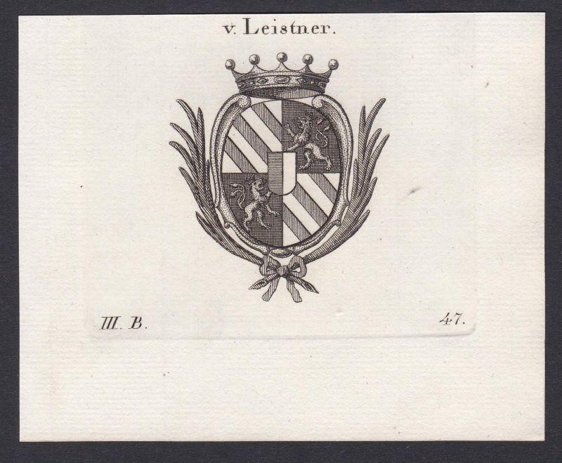 V. Leistner - Leistner Wappen Adel coat of arms heraldry Heraldik Kupferstich antique print