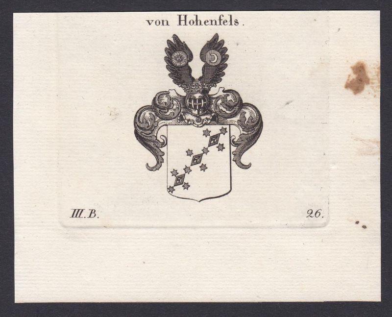 Von Hohenfels - Hohenfels Wappen Adel coat of arms heraldry Heraldik Kupferstich antique print