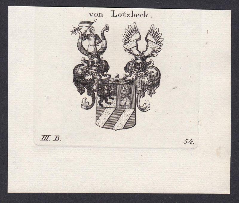 Von Lotzbeck - Lotzbeck Wappen Adel coat of arms heraldry Heraldik Kupferstich antique print