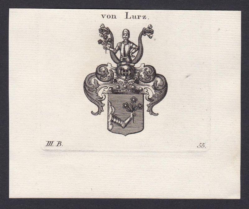 Von Lurz - Lurz Wappen Adel coat of arms heraldry Heraldik Kupferstich antique print