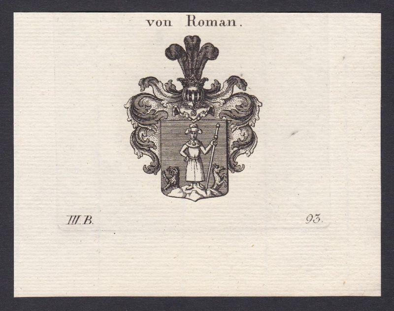 Von Roman - Roman Wappen Adel coat of arms heraldry Heraldik Kupferstich antique print