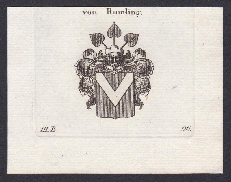 Von Rumling - Rumling Wappen Adel coat of arms heraldry Heraldik Kupferstich antique print