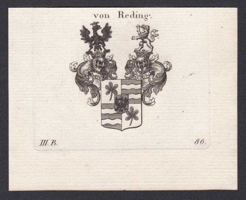 Von Reding - Reding Wappen Adel coat of arms heraldry Heraldik Kupferstich antique print