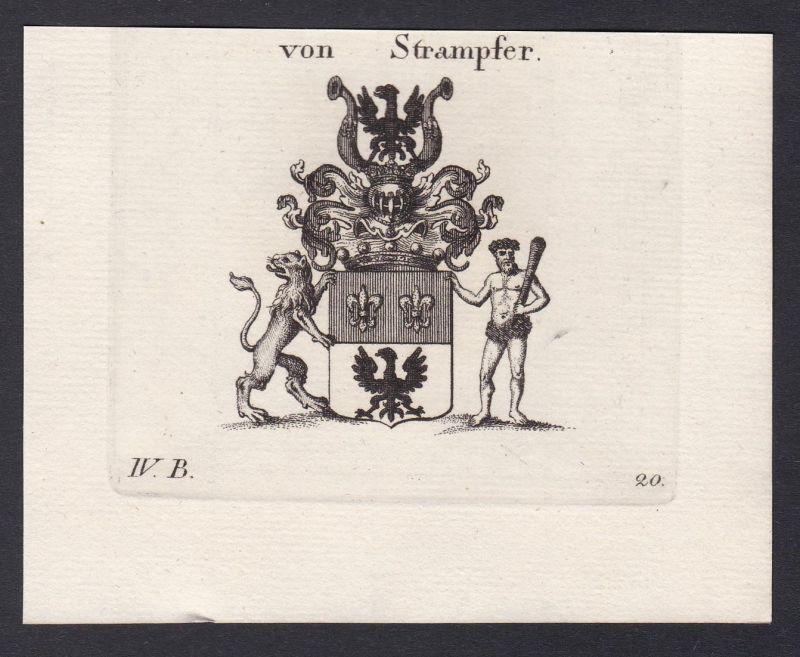 Von Strampfer - Strampfer Wappen Adel coat of arms heraldry Heraldik Kupferstich antique print