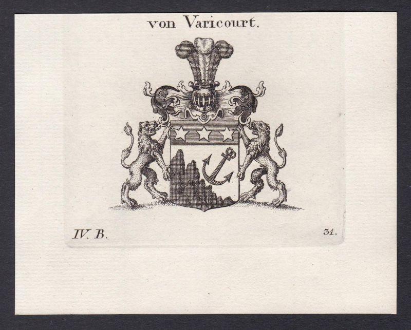Von Varicourt - Varicourt Wappen Adel coat of arms heraldry Heraldik Kupferstich antique print