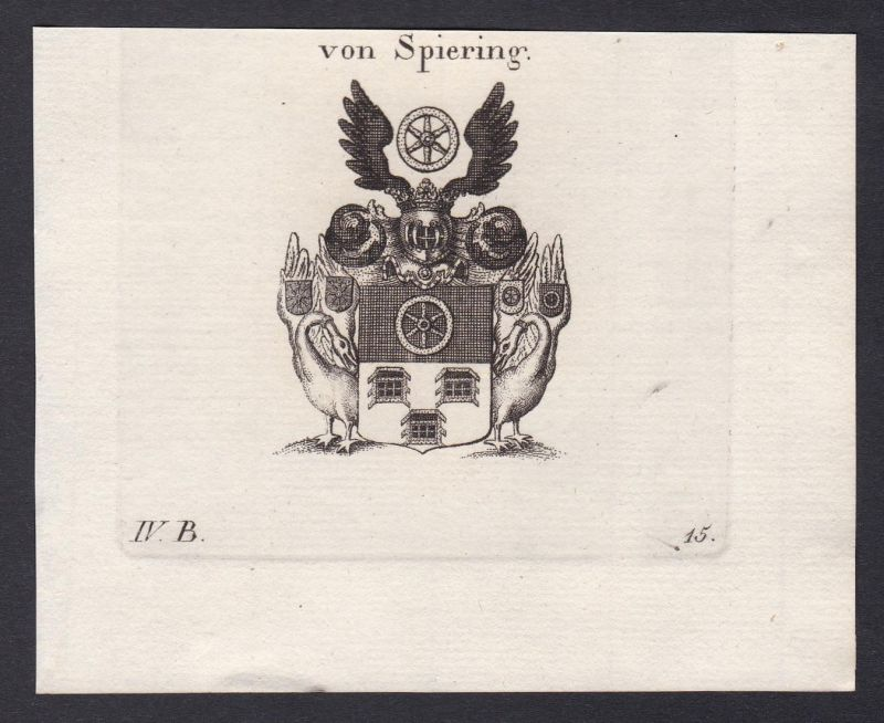Von Spiering - Spiering Wappen Adel coat of arms heraldry Heraldik Kupferstich antique print