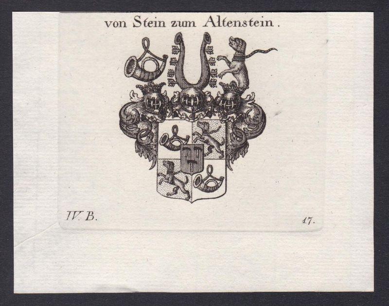 Von Stein zum Altenstein - Altenstein Stein Schwaben Franken Wappen Adel coat of arms heraldry Heraldik Kupfer
