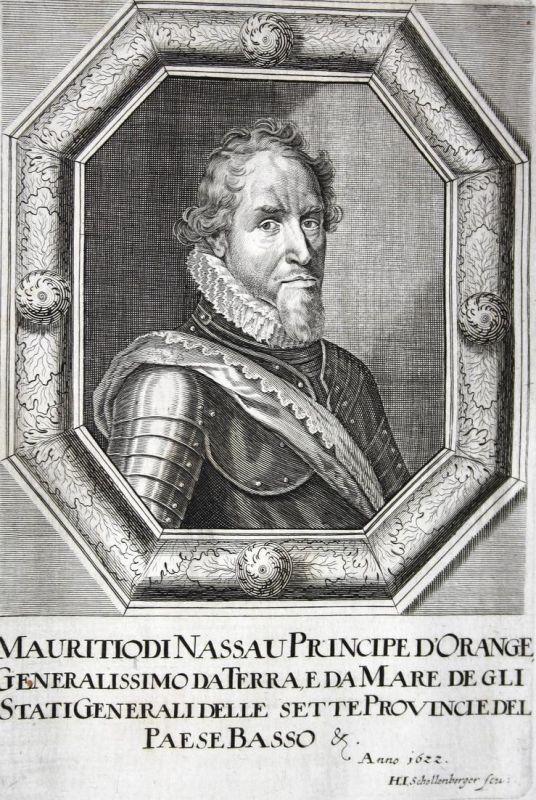 Mauritiodi Nassau Principe d'Orange - Maurice von Oranien-Nassau Prinz prince Niederlande Netherlands Kupferst