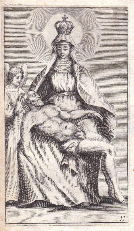 Maria mit Engel und Mann auf dem Schoß - Maria Engel angel Mann man Heiligenbild holy picture Heilige Kupferst