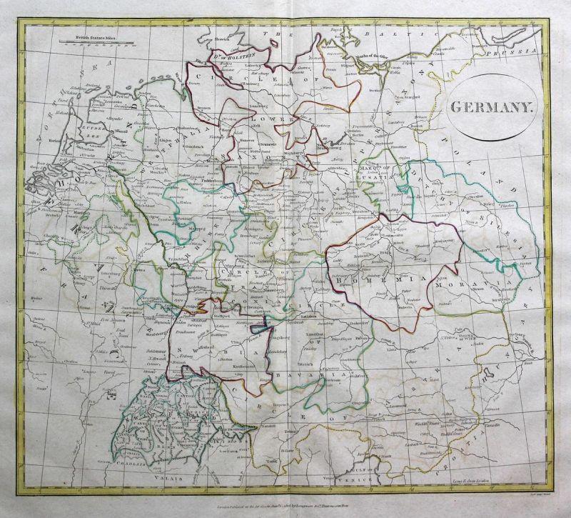Germany - Deutschland Germany Polen Poland Österreich Austria Schweiz Svizzera Suisse Karte map Kupferstich an