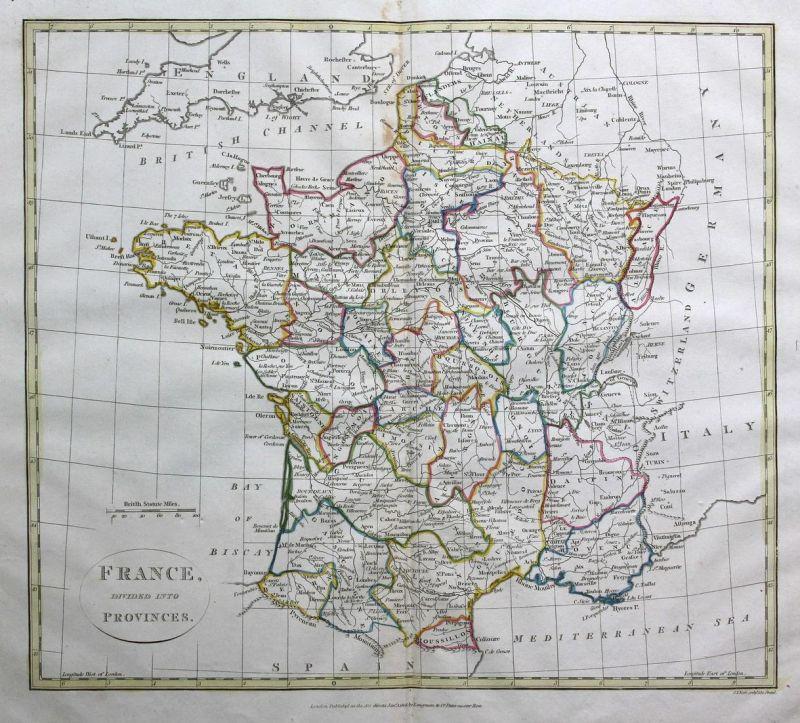 Toulouse Karte.France Divided Into Provinces Frankreich France Paris Toulouse Karte Map Kupferstich Antique Print