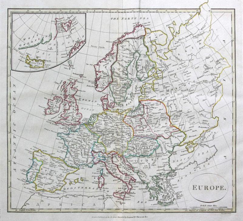 Europe - Europa Europe Spanien Spain Frankreich France Österreich Austria Polen Poland Karte map Kupferstich