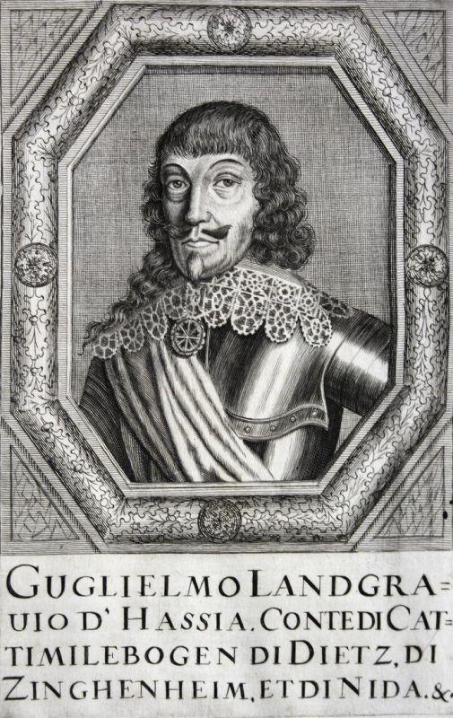 Guglielmo Landgravio d'Hassia - Wilhelm V. Graf earl Kassel Hessen Hesse Hessen-Kassel Kupferstich