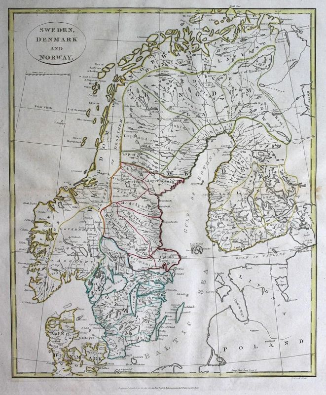 Sweden, Denmark and Norway - Schweden Sweden Dänemark Denmark Norwegen Norway Karte map Kupferstich antique pr