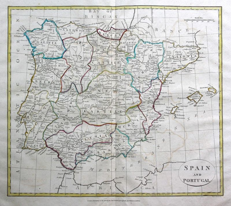 Spain and Portugal - Spanien Spain Espana Portugal Mallorca Ibiza Menorca Karte map Kupferstich antique print