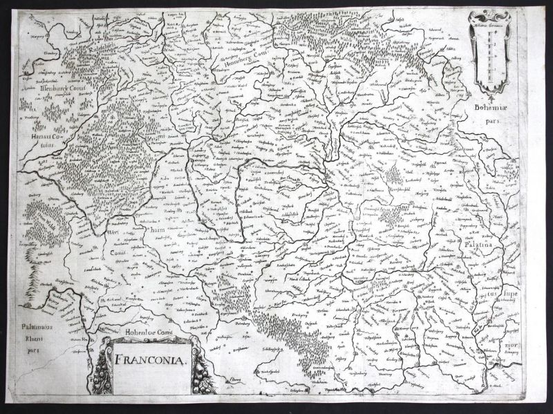Franconia - Franken Bayern Bavaria Deutschland Germany Karte map carte Kupferstich copper engraving antique pr