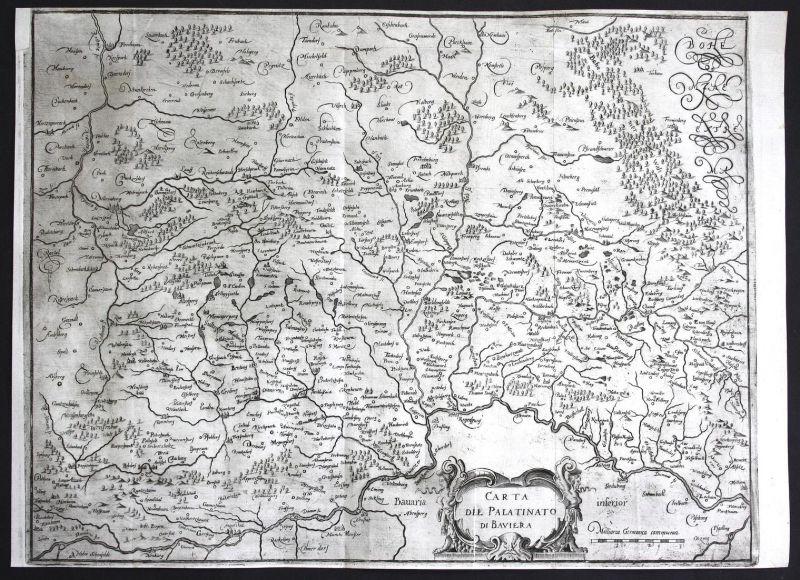 Carta del Palatinato di Baviera - Bayern Bavaria Oberpfalz Deutschland Germany Karte map carte Kupferstich cop