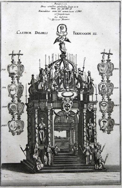 Castrum Doloris Ferdinandi III - Ferdinand III Castrum doloris Kaiser emperor Ansicht Kupferstich Merian
