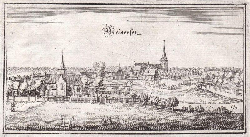 Meinersen - Meinersen Gifhorn Niedersachsen Deutschland Ansicht view Kupferstich Merian
