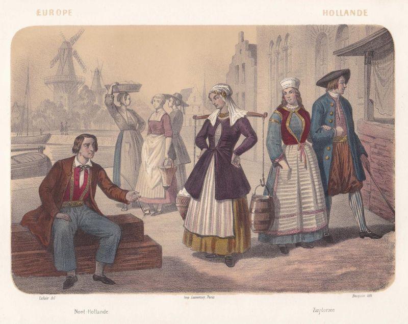 Hollande - Nord-Hollande / Zuyderzee - Nederland Holland Zuiderzee Noord-Holland Netherlands costumes Lithogra