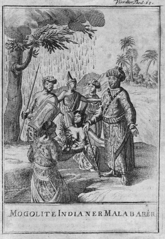 Mongolite Indianer Malabarer - Malabar Indien India Mongoliden Indianer Indian Kostüme costumes Kupferstich en