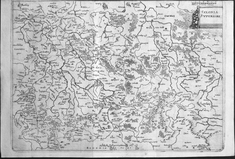 Saxonia Superiore - Sachsen Saxony Deutschland Germany Karte map carta Plan piano Kupferstich copper engraving
