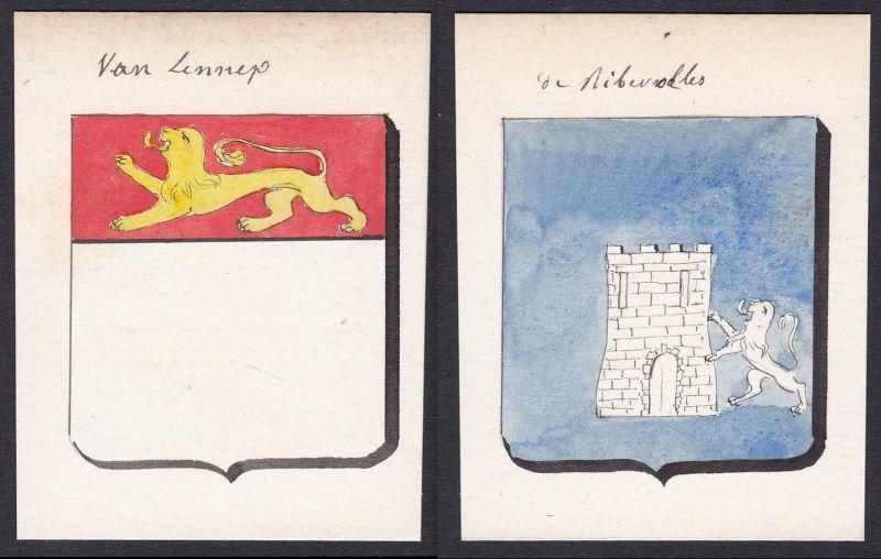 Van Lennep / de Riberolles - Van Lennep Riberolles Niederlande Netherlands Frankreich France Wappen Adel coat