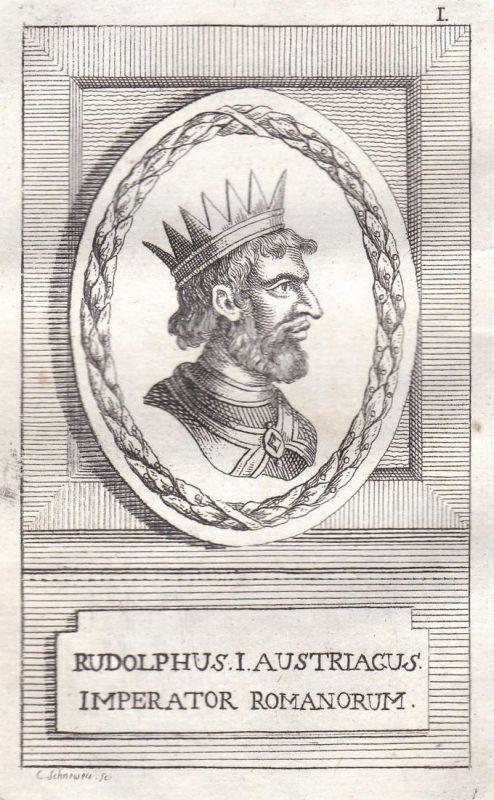 Rudolphus I. - Rudolf I. Graf earl König king Habsburg Portrait Kupferstich engraving