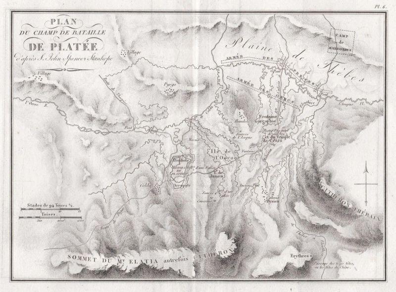 Plan du Champ de Bataille de Platee d'apres S. John Spencer Stanhope - Thiva Schlacht battle Greece Griechenla