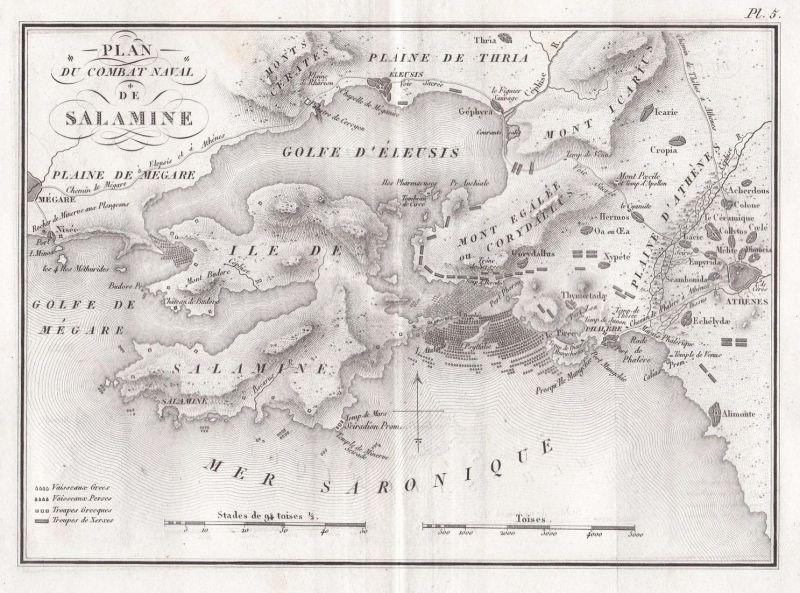 Plan du combat naval de Salamine - Salamis Salamine Schlacht battle Greece Griechenland Kupferstich engraving