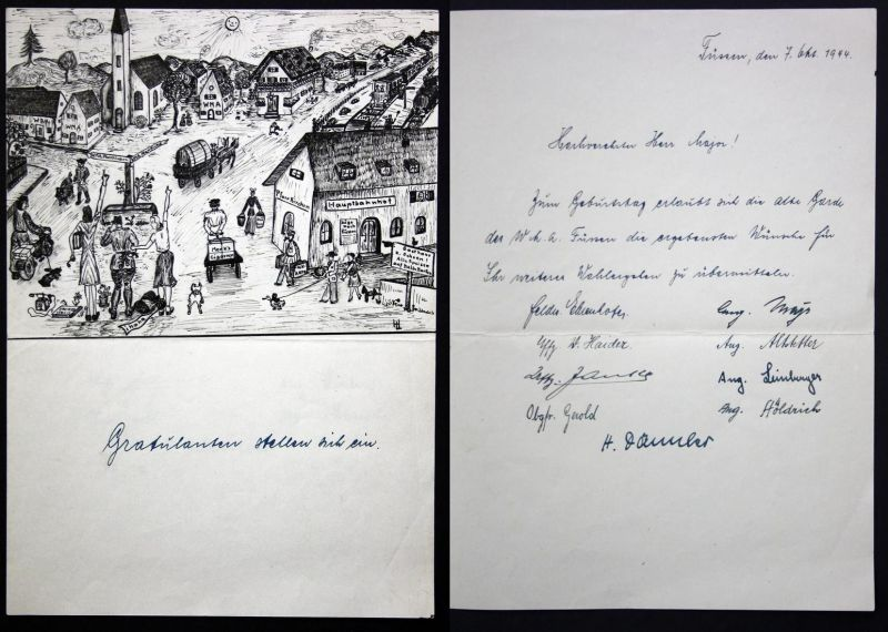 Gratulanten stellen sich ein - Pfarrkirchen Füssen WMA Ansicht view Weltkrieg Zeichnung drawing signiert signe