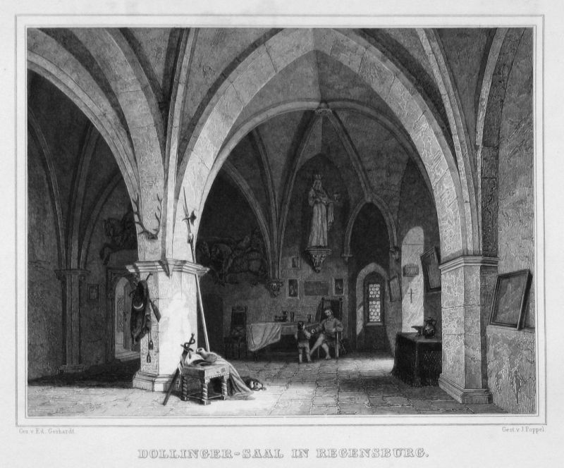 Dollinger-Saal in Regensburg - Dollinger-Saal Regensburg gravure Stahlstich engraving Gerhardt Poppel