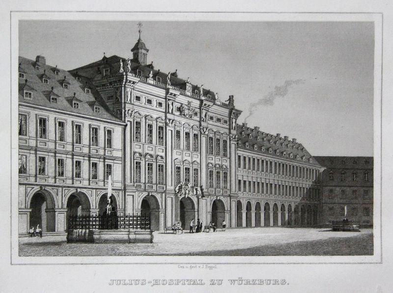 Julius-Hospital zu Würzburg - Juliusspital Würzburg Krankenhaus Bayern gravure Stahlstich engraving Poppel