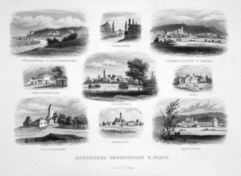 Augsburgs Umgebungen II. Blatt - Ausgburg Umgebung Souvenirblatt Bayern gravure Stahlstich engraving Poppel