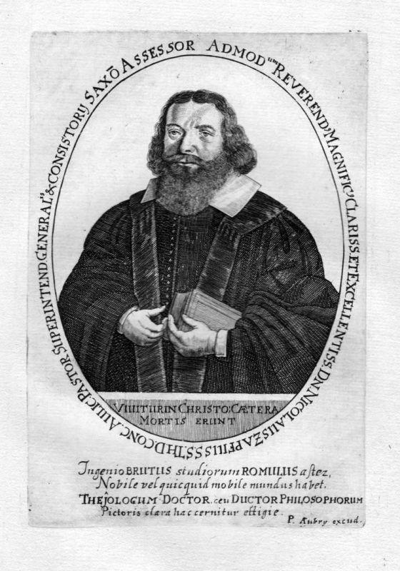 Admod Reverendi .. Nicolaus Zapfilis - Nicolaus Zapf Jena Weimar Theologe Portrait Kupferstich antique print